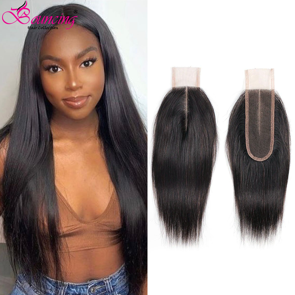 2×6 Bone Straight Lace Closure HD Transparent Lace Frontal Closure Brazilian Human Hair Middle Part Remy Human Hair For Women