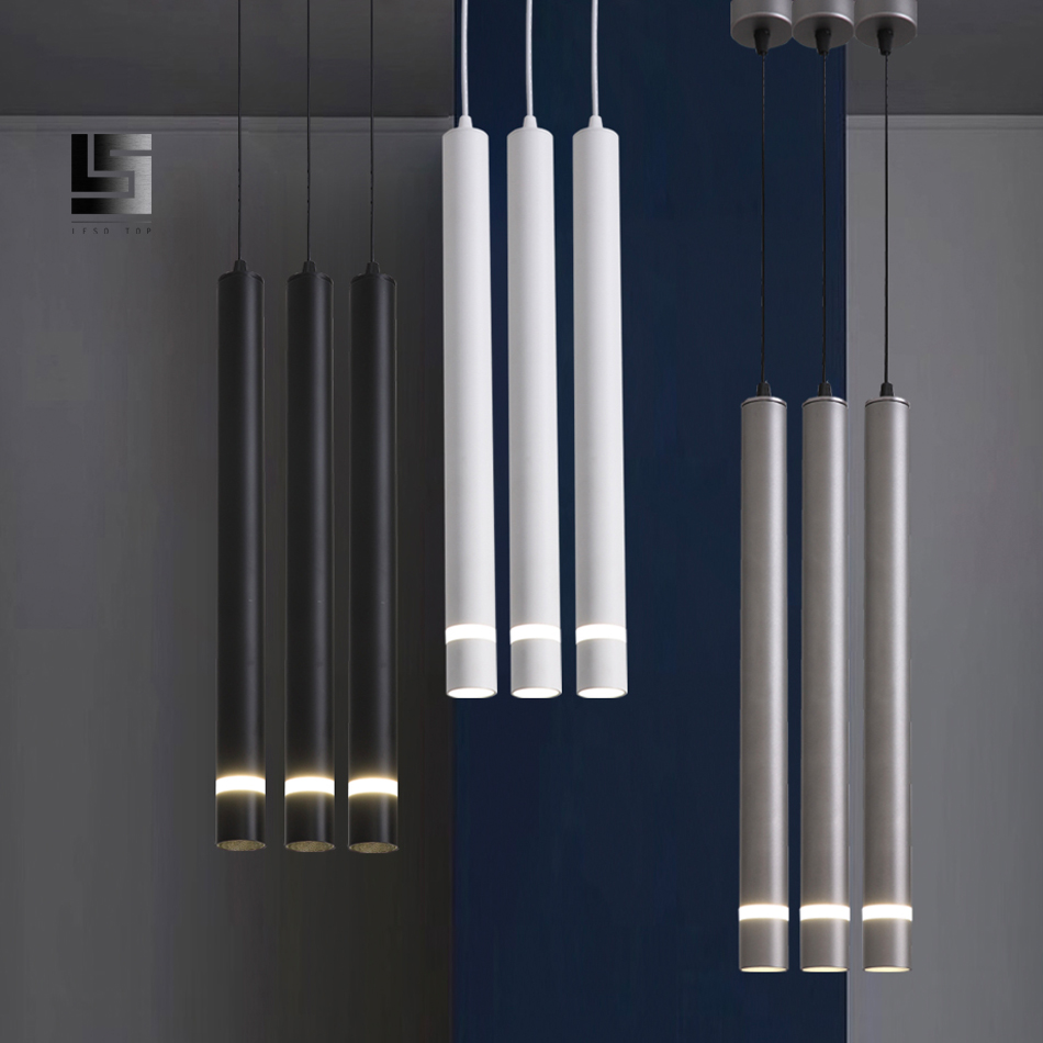 US $17.17 17% OFFModern led Pendant Lamp Long Tube light Kitchen Island  Dining Room Shop Bar Decoration Cylinder Pipe Pendant Light Kitchen
