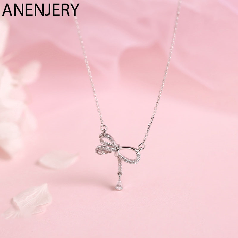 ANENJERY Delicate 925 Sterling Silver Bowknot Necklaces For Women Micro Pave Zircon Ecklace Gift Collares S-N458