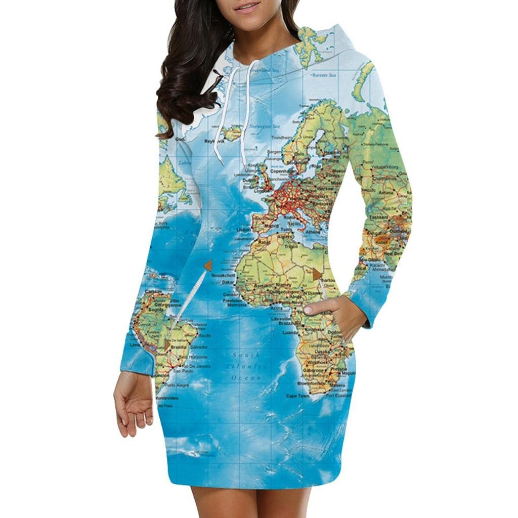 christmas dress  autumn dress women Leisure Map Print Long Sleeve Hooded  Dress ropa mujer vestidos sukienki robe hiver femme