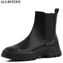 ALLBITEFO 天然本革高品質の女性のブーツ快適なアンクルブーツ簡潔なファッションガールズブーツラウンドつま先