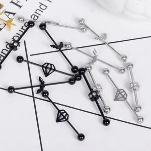 imixlot New Fashion Stainless Steel Perforated Jewelry Industrial Barbell Earring Cartilage Piercing Perforated Simple Jewelry