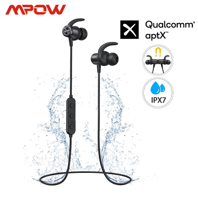 Mpow auriculares S11 ipx7 impermeables con Bluetooth 5,0, dispositivos deportivos APTX con diseño magnético y 9H de reproducción para iPhone, Samsung, Huawei y Xiaomi