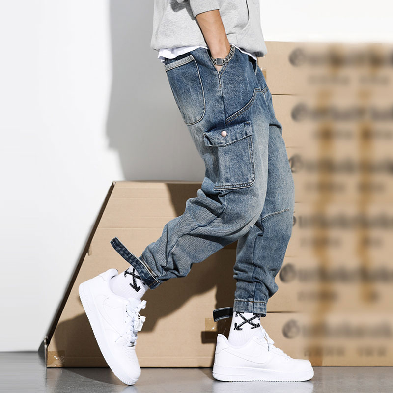 Japanese Style Fashion Men Jeans Retro Blue Loose Fit High Quality Cargo Pants Harem Trousers Streetwear Hip Hop Jeans Men