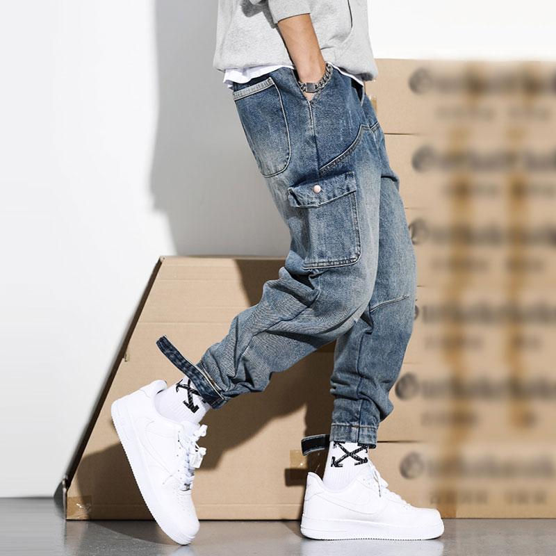 Japanese Style Fashion Men Jeans Retro Blue Loose Fit High Quality Cargo Pants Harem Trousers Streetwear Hip Hop Jeans Men