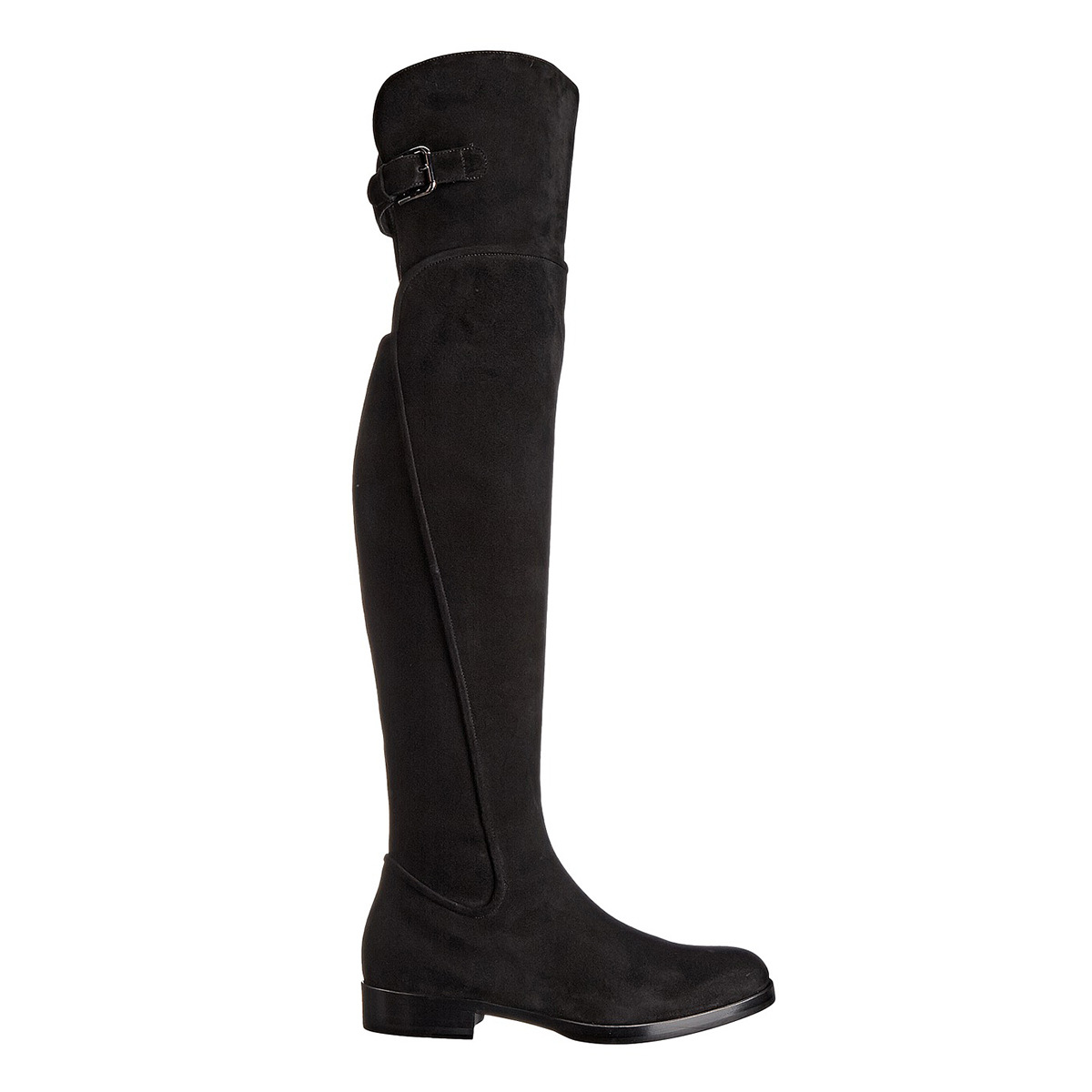 Women's Knee High Boots Show Thin Suede Genuine Leather Side Zipper Over-the-knee Long Boots Flat Shoes Woman Femmes Chaussures