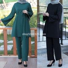 Islamic Clothing Leg-Pants Abaya Turkey Muslim 2piece-Sets Wide Tops Kaftan Dubai Pakistan