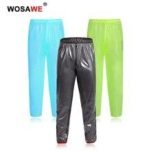 Wosawe motocicleta calças de chuva à prova dwaterproof água acampamento ao ar livre moto leve à prova chuva correndo calças exteriores