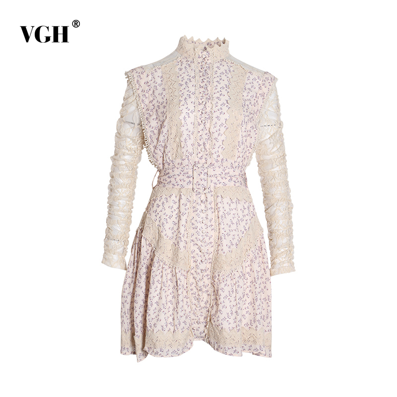 VGH Hair Balls Lace Patchwork Dress For Women Stand Collar Long Sleeve Print Mini Dresses Female Fashion 2020 Clothes Spring New