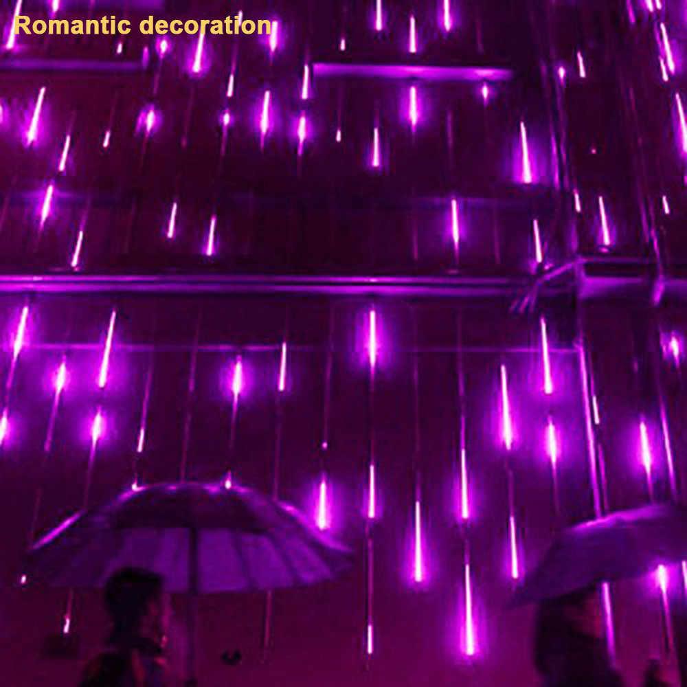 Hujan Meteor Hujan Tabung Natal LED Tirai Lampu Taman Pesta Natal Dekorasi untuk Pohon Ungu Hujan # Tx45