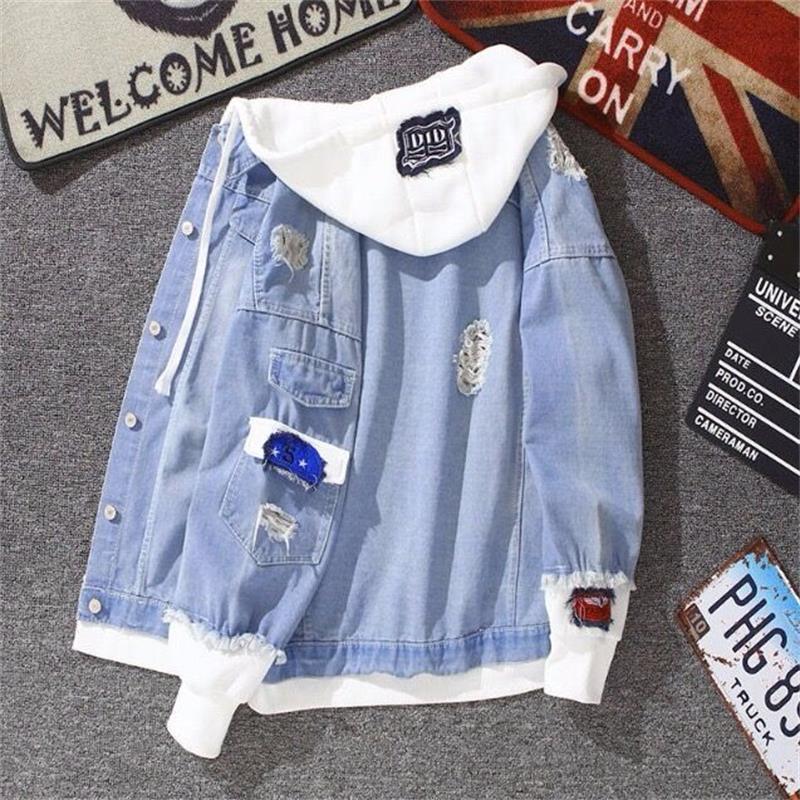 Женская ВИНТАЖНАЯ ДЖИНСОВАЯ КУРТКА, рваная джинсовая куртка с капюшоном и дырками, верхняя одежда в стиле Харадзюку, куртка-бомбер, лето-осе...