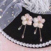 Geometric New Design Drop Earrings For Women Transparent Flower Rhinestone Long Chain Tassel Bead Pendant Earrings Wholesale цена