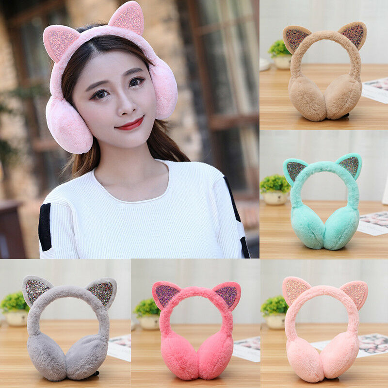 Women Girl Fashion Winter Cat Earmuffs Fur Warm Ear Protect Cute Faux Soft Fluffy Sequin Earcap