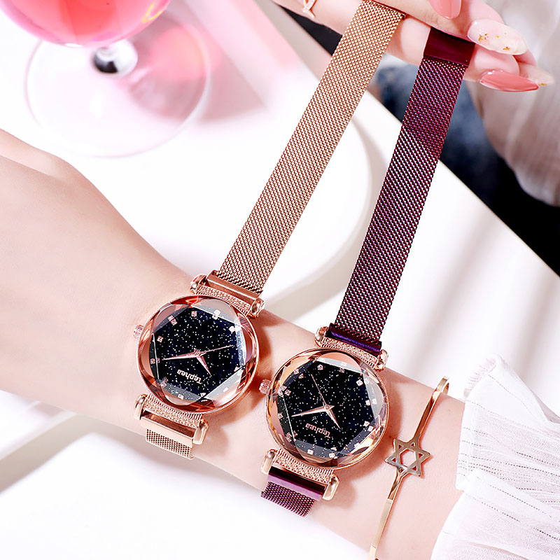 2019 Tephea Fashion Women Starry Sky Waterproof Watches Luxury Luminous Leather Strap Quartz Female WristWatch Relogio Feminino in Women 39 s Watches from Watches