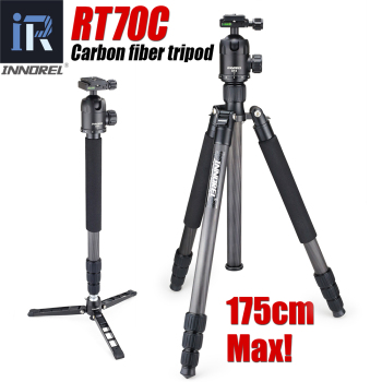 INNOREL RT70C Carbon Fiber Professional Heavy Duty Camera Tripod Monopod for Nikon Canon DSLR Video with Panoramic Ball Head innorel rt30 professional aluminum alloy tripod monopod add ball head max height 197cm 77 6in for outdoor camera video recorder