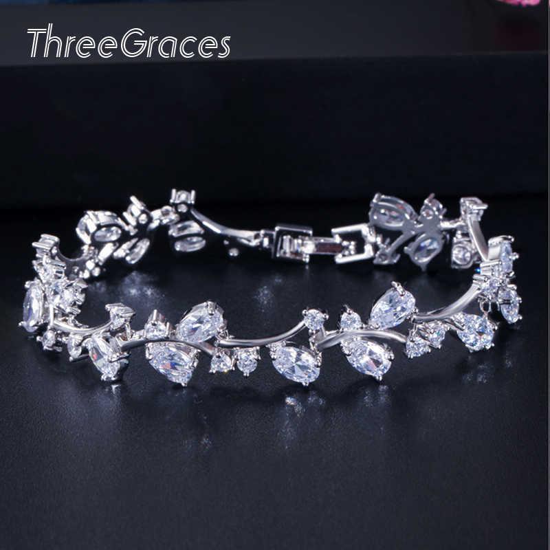 ThreeGraces โรแมนติก CZ เครื่องประดับและดอกไม้ Cubic Zirconia ชุดแต่งงานสร้อยข้อมือสำหรับเจ้าสาว BR031