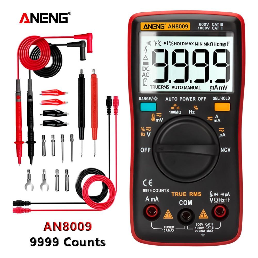 ANENG AN8009 True-RMS Digital Multimeter Transistor Tester Capacitor Tester Automotive Electrical Capacitance Meter Temp Diode