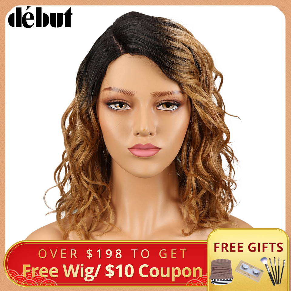 Debut Lace Wig Human Hair Wigs For Black Women Part Lace Bob Wig Nature Wave Remy Ombre Curly Human Hair Wig Free Shipping