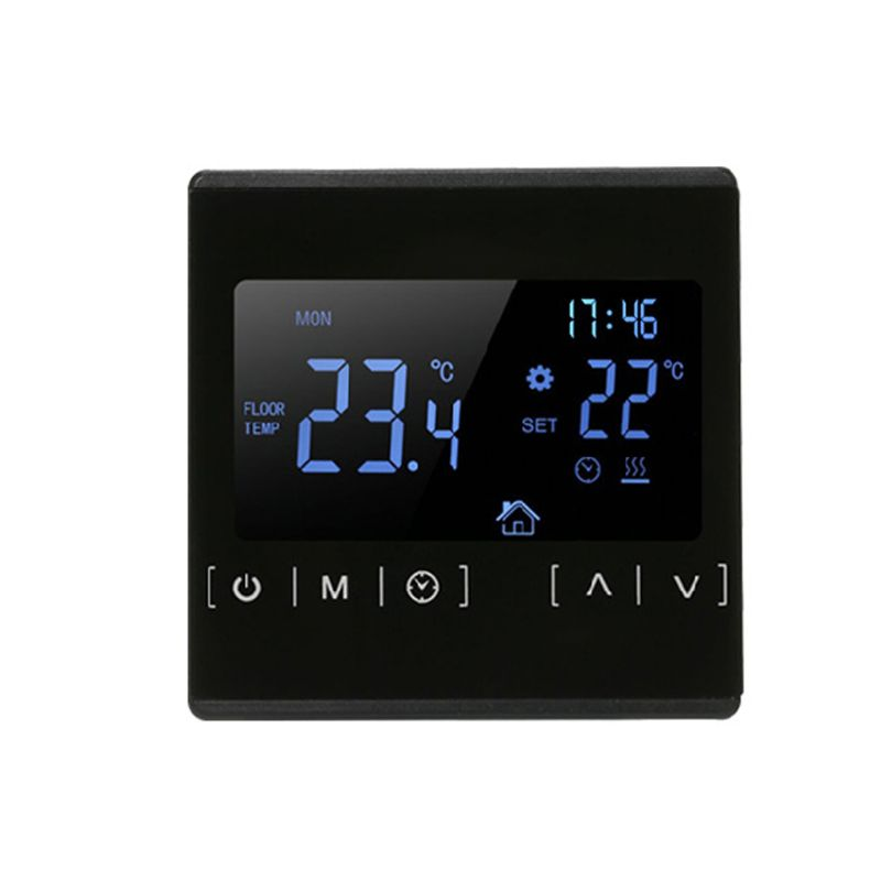 High-power Electric Heating Floor Heating Thermostat Touch Screen Black Backlight Dual-temperature Dual-control Floor Heating Th