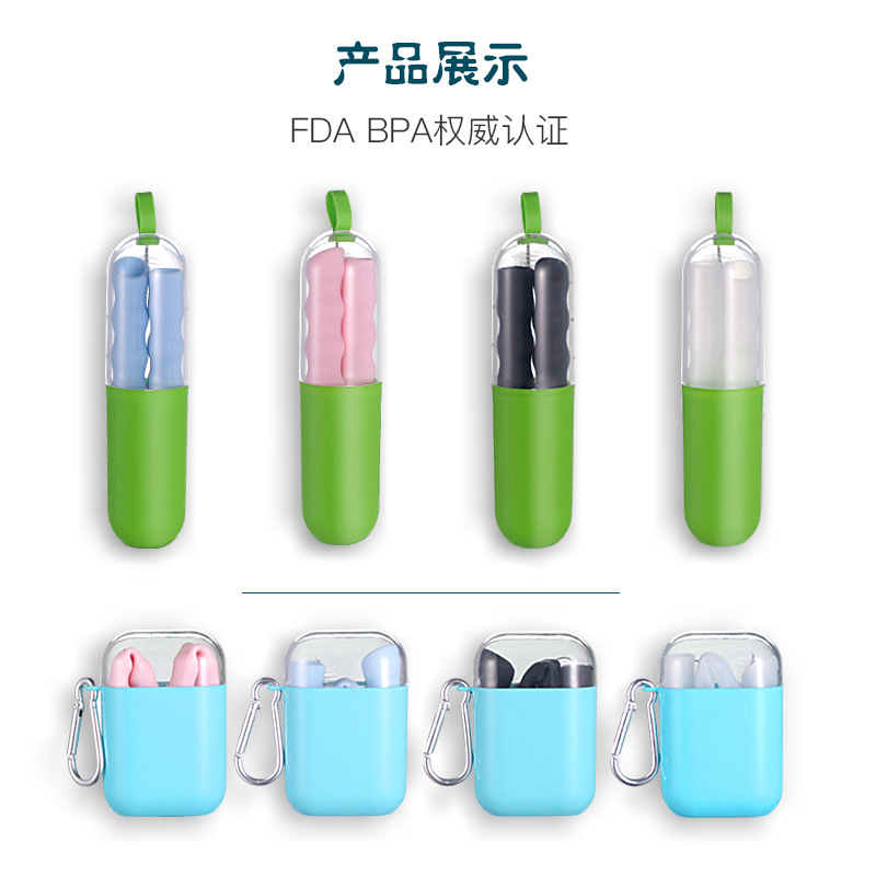 Foldable Silicone Straw Adult Environmentally Friendly Easy To Cleaning Portable Repeated Use Pearl Milk Tea Boba Beverage Straw