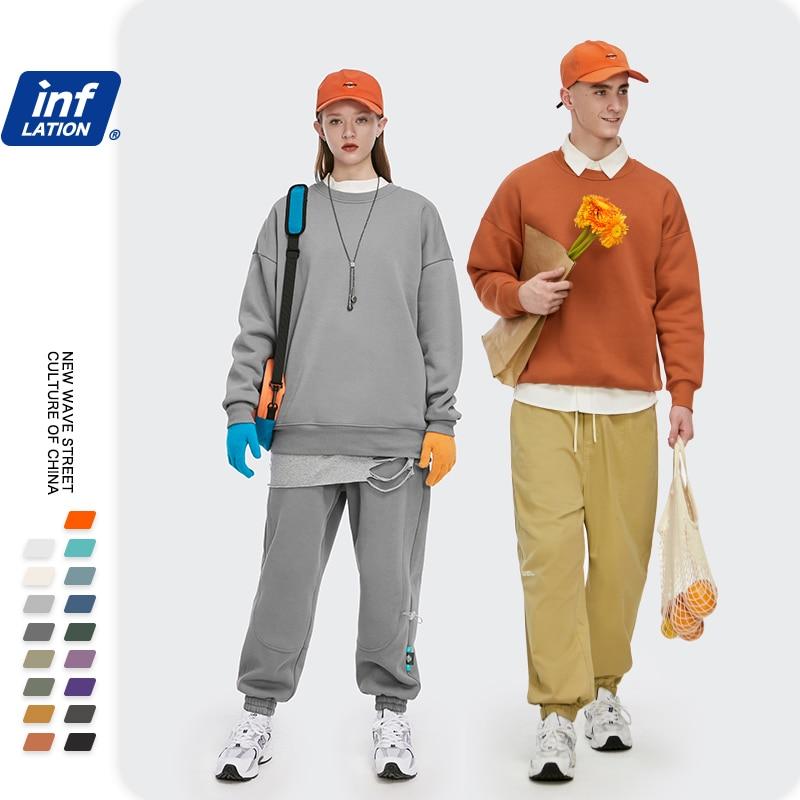 INFLATION Winter Mens Hip Hop Multi-colour Hoodies Velvet Fabrics Fleece Sweatshirts 8 Solid Color Winter Men Sweatshirts 166W17 5