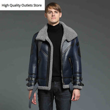 fur coat men fur jacket man sheepskin jackets genuine leather coats tops blue fashion casual winter coldproof(China)