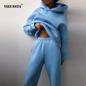 Casual Autumn Winter Two Piece Set For Women Tracksuit Harajuku Hooded Sweatshirt And Elastic Waist Long Pant 2020 Solid Outfits