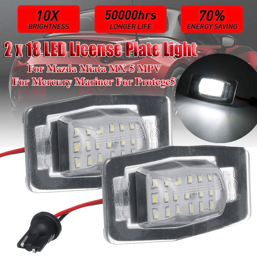 2 uds 18 luz Led de matrícula lámpara Error Free Led número de placa para bombillas de mercurio Mariner para Mazda Miata MX-5 MPV para protegido