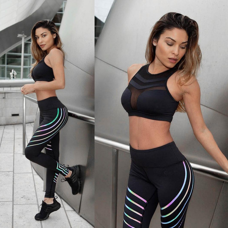 Yoga Set Women 2019 Push Up Sports Bra Yoga Pants Running Fitness Clothes Two Piece Sets Solid Black White Slim Fit Yoga Trouser in Yoga Sets from Sports Entertainment
