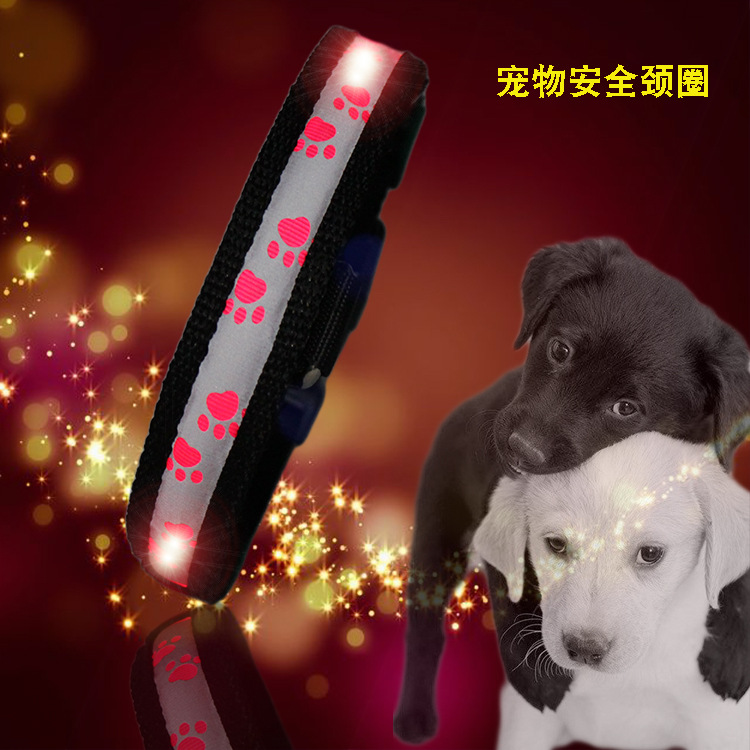 LED Dogs And Cats Luminous Collar Fiber Pet Shining Bandana Pet Anti-Lost Dog Neck Ring