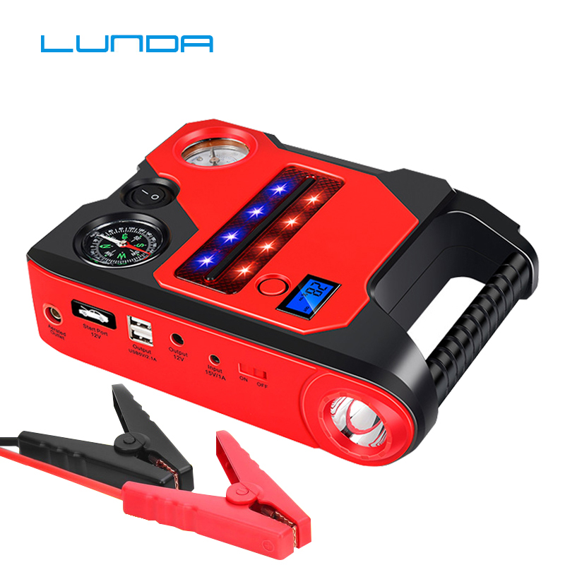 12V Car Jump Starter Power Bank Emergency Jumper Auto Car Battery Booster starting devices Buit in Air Inflator For Car Tire