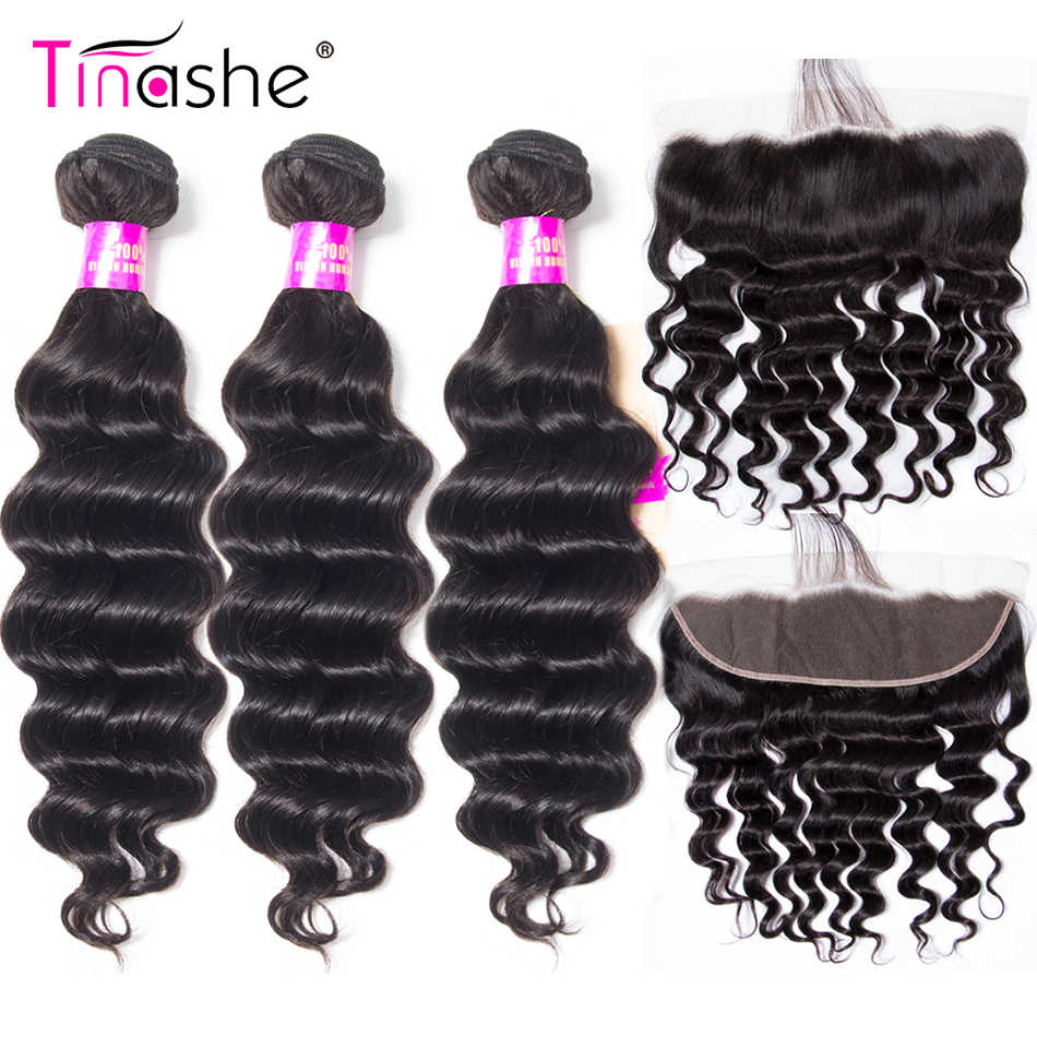 Tinashe Hair Loose Deep Wave Bundles With Frontal Brazilian Hair Weave Bundles With Closure Human Hair Lace Frontal With Bundles