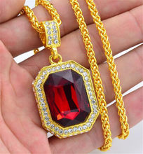 Hiphop Gold Color Rope Chain Lion Head Pendants Hip Hop Men Iced Out Red Square Crystal Necklaces With 60cm Chian(China)