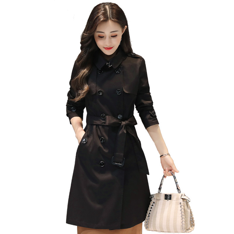Trenchcoat Women   Trench   Coat Plus Size 2019 Autumn Korean Vintage Fashion Solid Color Long sleeve Loose   Trench   Coat Thin