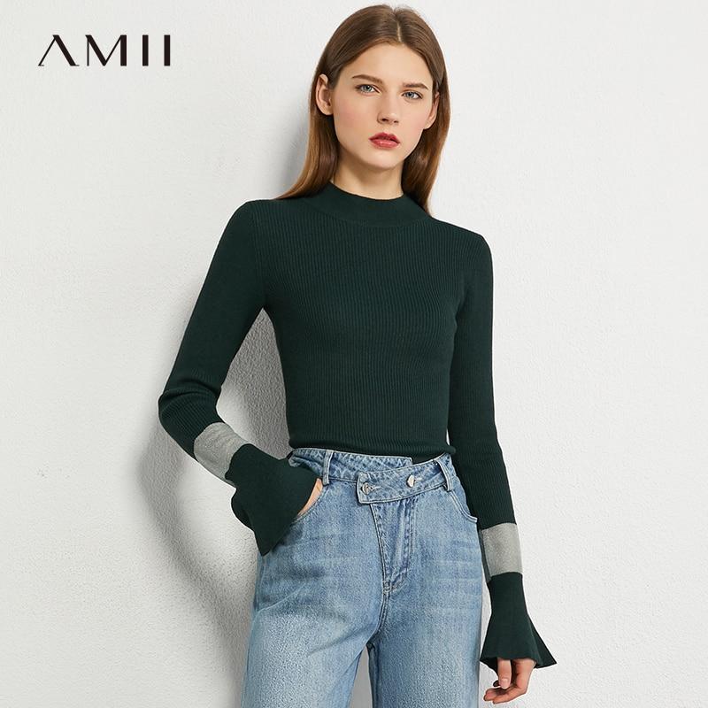 AMII minimalizm sonbahar eklenmiş örme kadın kazak moda Slim Fit trompet kollu örme kadın kazak 12030250