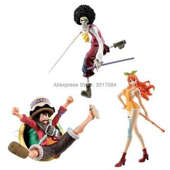 Japón Original BANDAI una pieza de acción Anime figura de Luffy Nami Brook modelo colecciones de juguetes para adultos