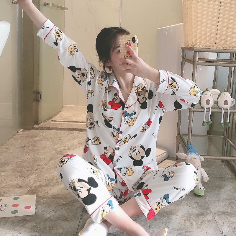 New White Mickey 2020 Spring And Autumn Long-sleeved Trousers Pajamas Women's Suit Cardigan Lapel Large Size M-2XL Home Service