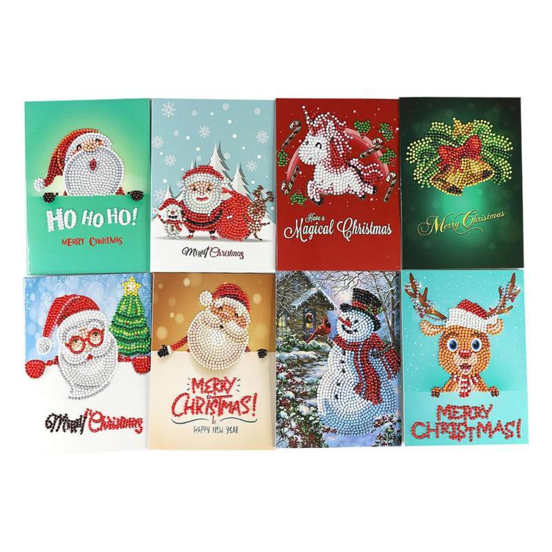 5d pintura diamante dos desenhos animados papai noel feliz natal papel cumprimentar cartões presente