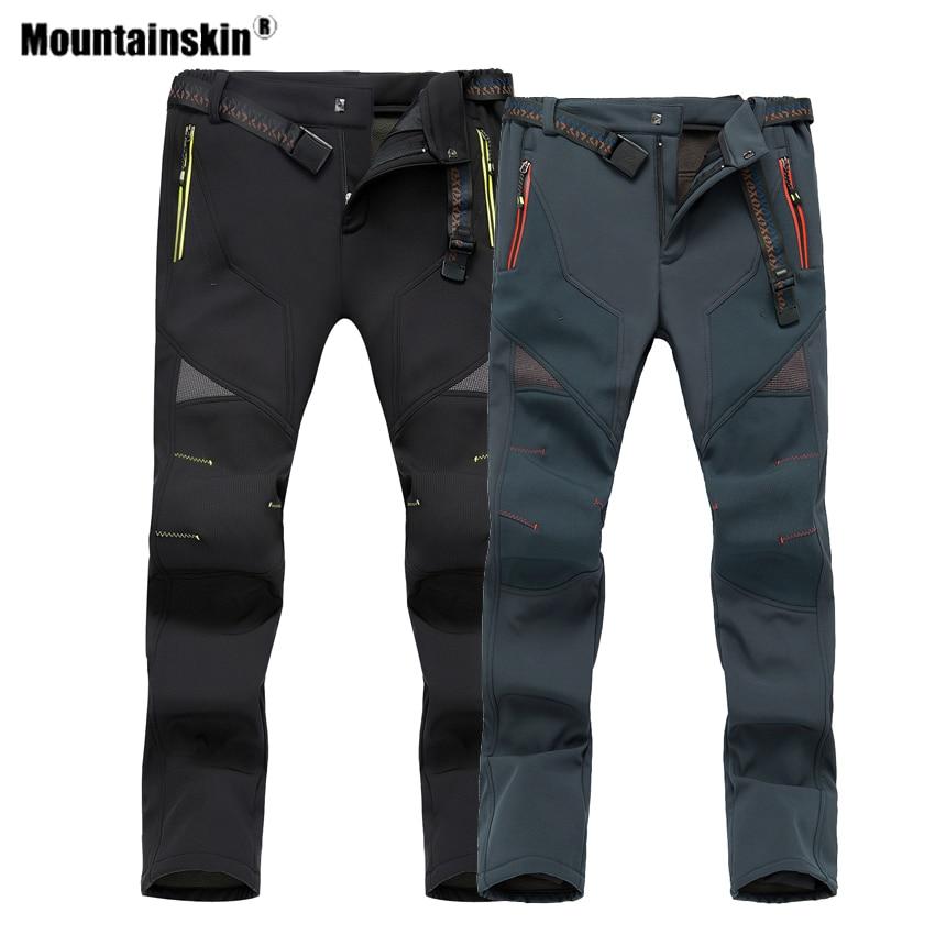 Mountainskin Winter Men Women's Fleece Softshell Pants Outdoor Sports Thermal Hiking Camping Skiing Male Female Trousers VA594