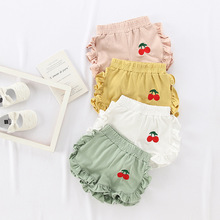 Ma&Baby 1-3Y Toddler Baby Kid Girls Shorts Summer  Cherry Embroidery Ruffles Trousers Girls Costumes