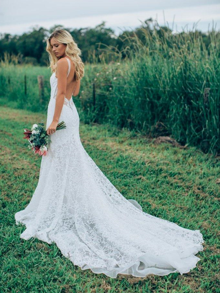 White Lace Boho Wedding Dress Mermaid 2019 Backless Long Trumpet Trail Vestido De Noiva Bohemian Bridal Gowns Custom Size