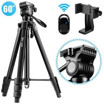 Statyw kamery 60-Cal/152cm do DSLR/SLR, płynna głowica statywu profesjonalny lekki statyw telefonu z uchwytem telefonu i pilotem