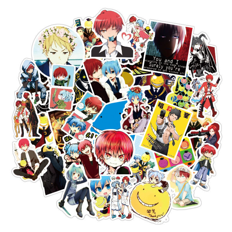 50pcs Anime Assassination Classroom Stickers Graffiti Anime Sticker For Laptop Suitcase Skateboard Fridge Bicycle Luggage Cars