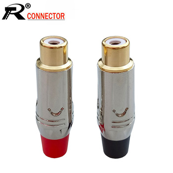 100pcs/lot RCA Female Jack Socket Wire Connector Gold+Nickel Plated Jack Speaker Adapter 50 Pairs Red+Black
