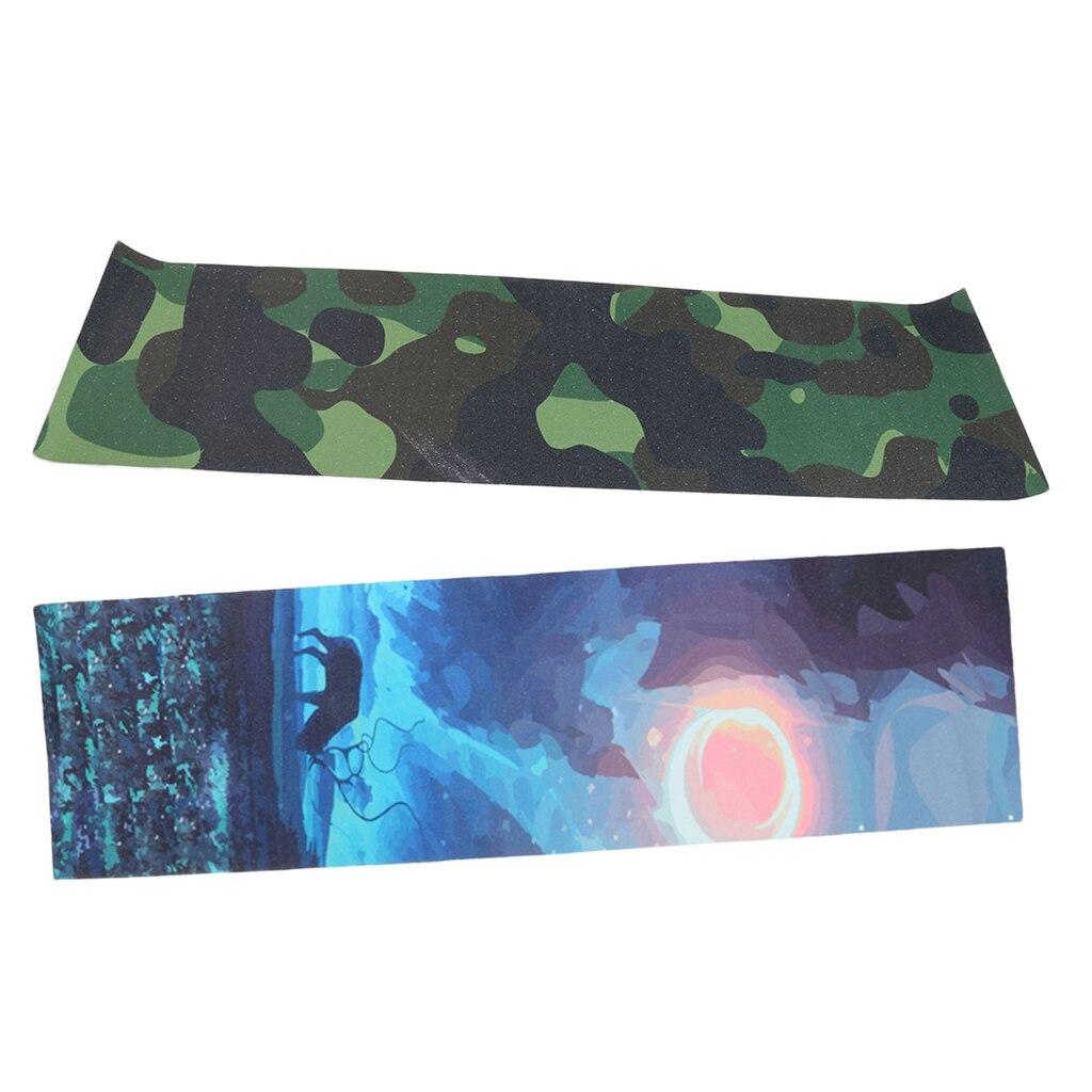 2pcs Camo + Elk Printed Skateboard Deck Sandpaper Grip Tape Griptape Sheet 840 X 230mm