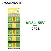 Pujimax ag3 botão bateria lr41 sr41 lr41 l736 bateria alcalina 1.55 v 10 pçs para relógio de pulso brinquedo botão controle remoto pilha moeda|Baterias primárias e secas|Eletrônicos -