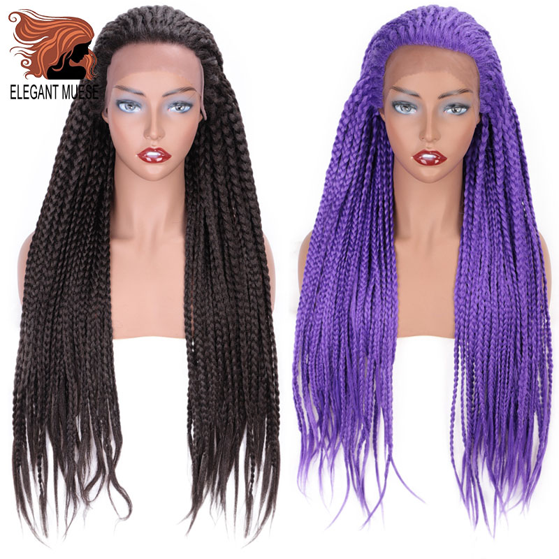 ELEGANT MUSES Lace Front Wig Synthetic  Purple Long Box Braid Wig Purple Glueless Braided  For Afro Women Daily Wear 26 Inch