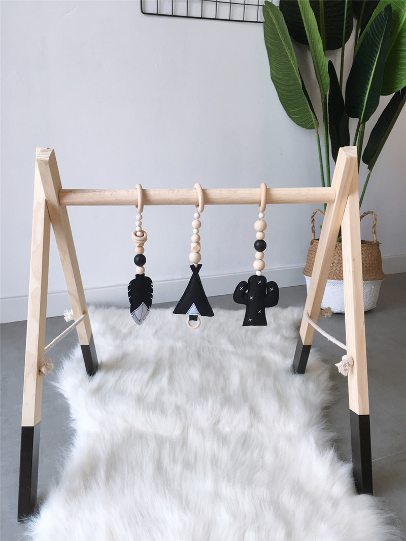 3 PCS Wooden Beads Ornaments With Felt Feather Cactus Tent Hanging Pendant Baby Rattle Stroller Play Gym Toy Nursery Decor Props