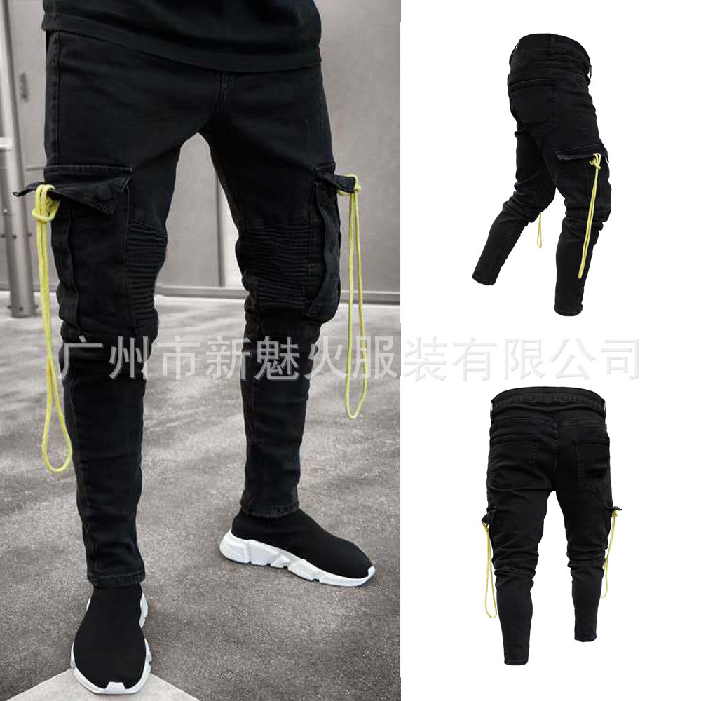 Europe And America Hot Selling Men Black Jeans Pencil Case Elasticity With Holes Zipper Skinny Pants