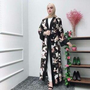 Open Abaya Dubai Cardigan Muslim Floral Hijab Dress Kimono Kaftan Robe Caftan Eid Turkish Islamic Clothing Oman Vestido Musulman
